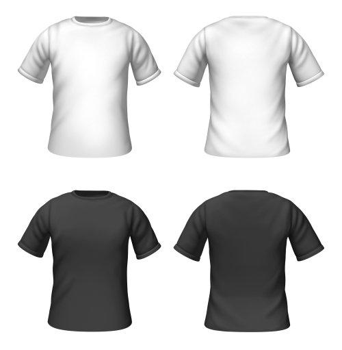 Hình ảnh mẫu áo phông trống với màu đen và trắng