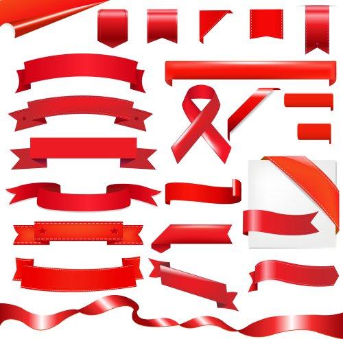 Vector Bộ Ruy băng màu đỏ, cô lập trên nền trắng