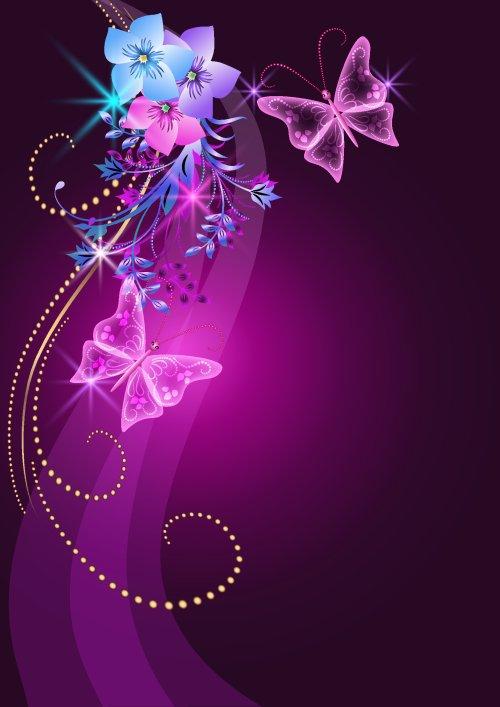Vector nền hoa, bướm và sao