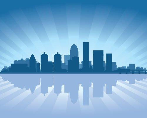Vector thành phố Louisville, Kentucky đường chân trời với sự phản chiếu trong nước