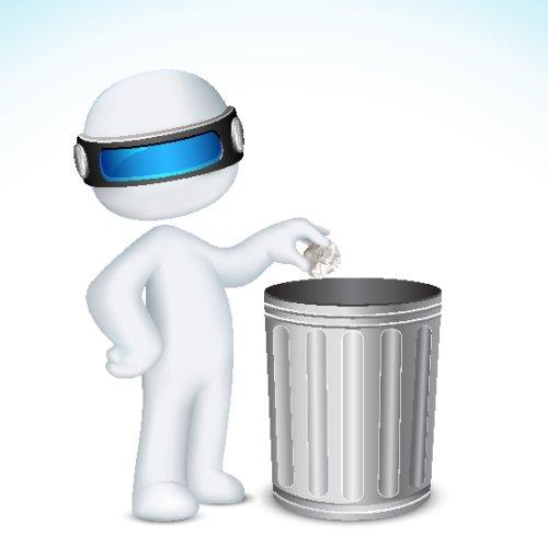 Vector người đàn ông 3d đặt giấy nghiền trong thùng rác