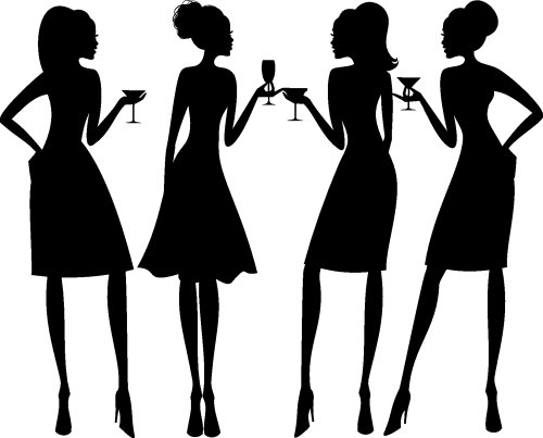 Vector minh họa bốn phụ nữ thanh lịch tại một bữa tiệc cocktail