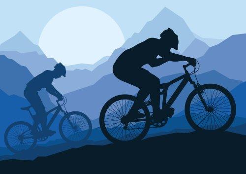 Vector Người đi xe đạp leo núi trên nền thiên nhiên hoang dã