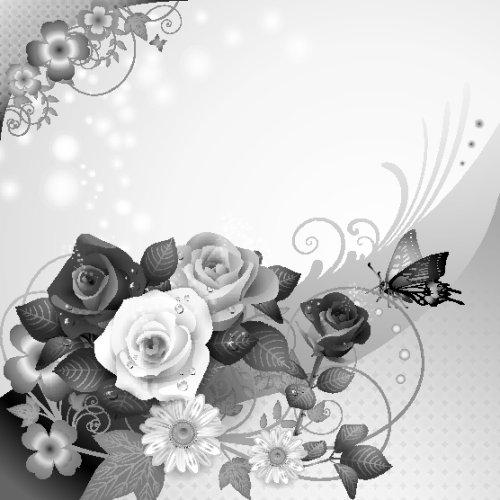 Vector nền hoa hồng và bướm