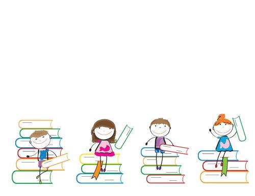 Vector trẻ em vui đùa trên nhiều cuốn sách đầy màu sắc