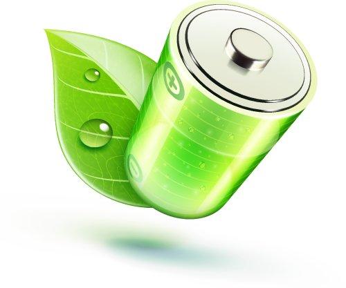 Vector biểu tượng khái niệm sinh thái với pin bóng và lá màu xanh lá cây
