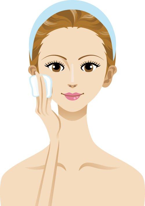 Vector người phụ nữ chăm sóc da với bông và bàn tay