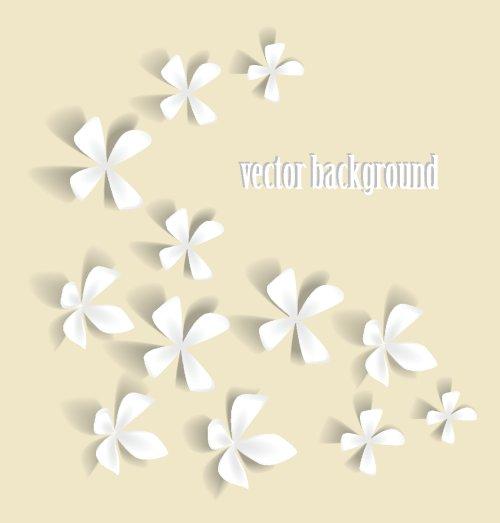 Vector Hoa màu trắng lãng mạn trên nền sáng