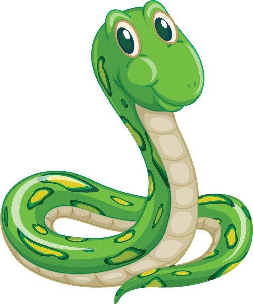 Vector con rắn xanh trên nền trắng