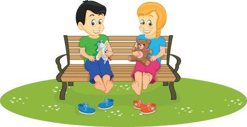 Vector trẻ em ngồi trên băng ghế trong công viên