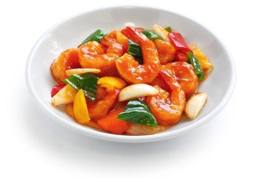 Ảnh chụp tôm chua ngọt, thực phẩm Trung Quốc
