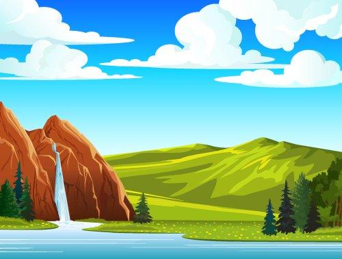 Vector Cảnh quan thác nước và đồi núi trên bầu trời xanh