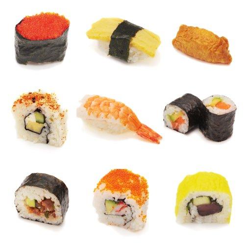 Ảnh chụp nhiều loại sushi trong cắt dán. Nigiri, tobiko, tamago, uramaki, futomaki, maki, inari.