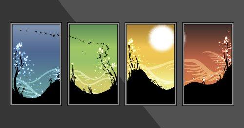 Vector bố cục bốn mùa