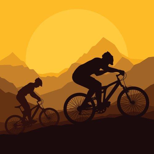 Vector Người đi xe đạp leo núi trong phong cảnh thiên nhiên hoang dã