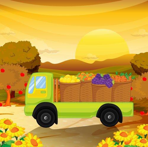 Vector minh họa xe chởtrái cây