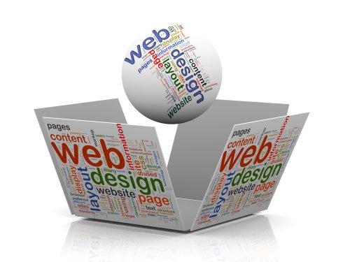 Hình vẽ mặt cầu 3D và hình khối mở wordcloud biểu trưng cho thiết kế web