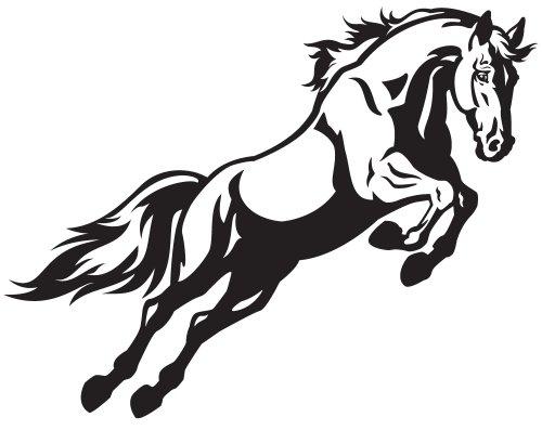 Vector con ngựa đang nhảy, hình ảnh đen trắng được cô lập trên nền trắng