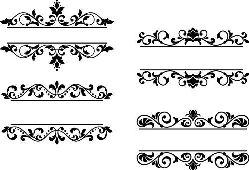 Vector Các tiêu đề hoa và đường viền theo phong cách retro