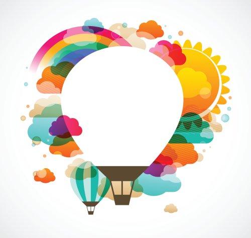 Vector khinh khí cầu, nền trừu tượng đầy màu sắc