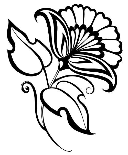 Vector vẽ tay hoa màu đen và trắng, yếu tố thiết kế trong phong cách retro