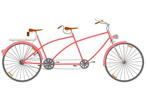 Vector mặt nhìn của xe đạp song song trong phong cách retro trên một nền trắng.