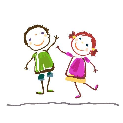 Vector bé trai và bé gái vui cười hạnh phúc