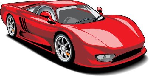 Vector xe thể thao màu đỏ cô lập trên nền trắng