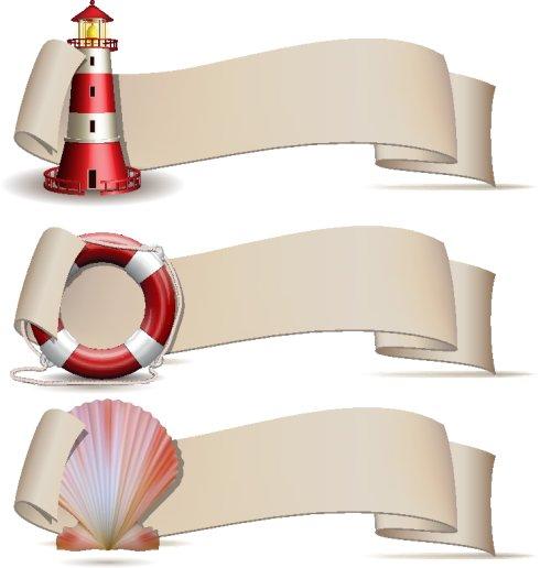 Vector bộ biểu ngữ với biểu tượng biển