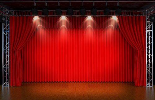 Ảnh chụp 3d trống rạp với ánh đèn sân khấu