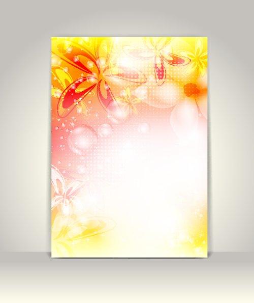 Vector tờ rơi hoặc mẫu quảng cáo, hoa thiết kế đầy màu sắc