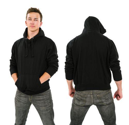 Hình ảnh của một người đàn ông mặc chiếc áo khoác màu đen, mặt trước và sau