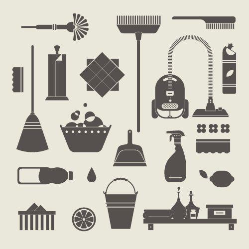 Vector biểu tượng bộ công cụ làm sạch