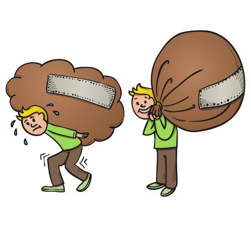 Vector hoạt hình Người vác túi nặng