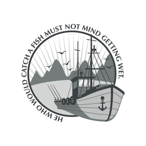 Vector biểu tượng tàu cá bằng câu tục ngữ
