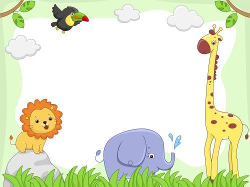 Hình minh hoạ bằng khung cảnh với động vật hoang dã dễ thương