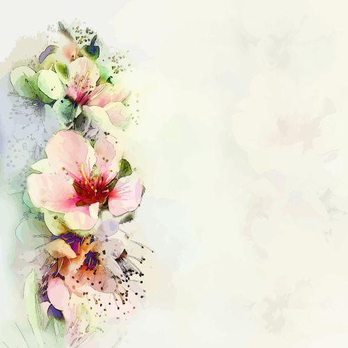 Vector thiệp chúc mừng hoa với hoa xuân sáng trên nền mờ trong màu pastel