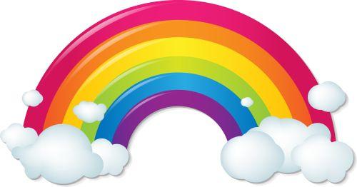Vector Cầu vồng Với Mây đầy màu sắc