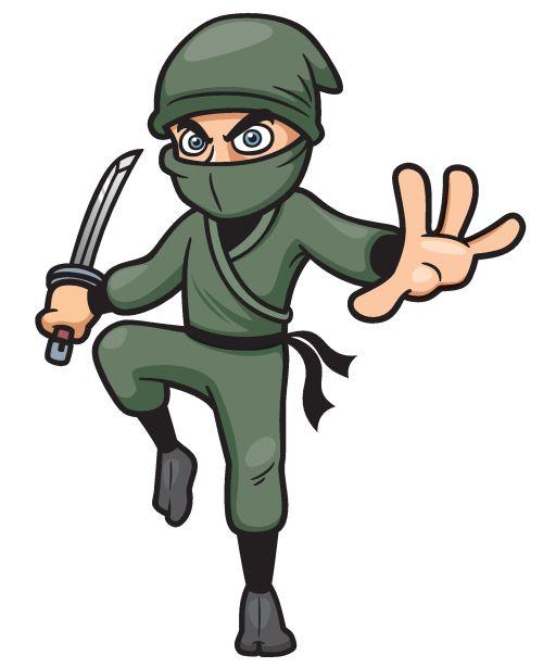 Vector minh họa của chiến binh Cartoon Ninja