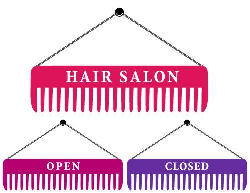 Vector bộ ký hiệu tiệm làm tóc với lược và hoa văn hồng