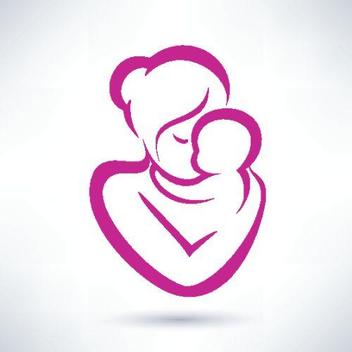 Vector biểu tượng mẹ và con