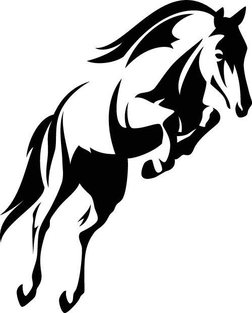 Vector phác thảo màu đen và trắng con ngựa đang nhảy