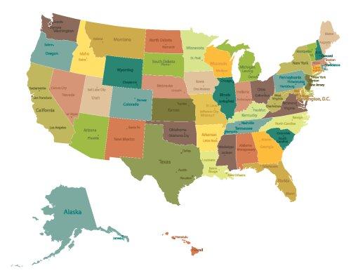 Vector bản đồ chi tiết về chính trị Hoa Kỳ với tên bang và thành phố