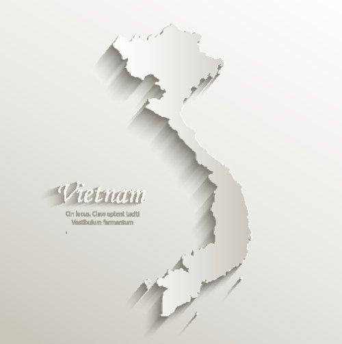Vector bản đồ Việt Nam bằng giấy 3D tự nhiên