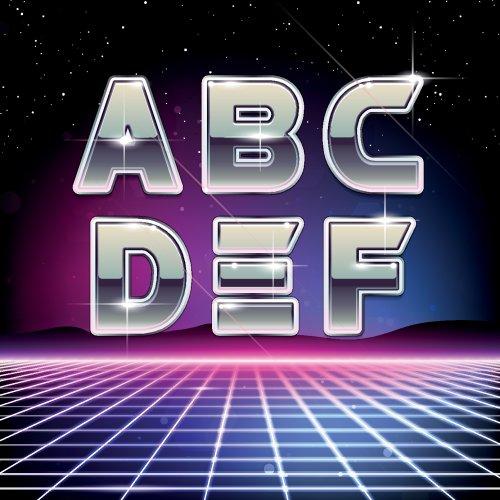 Vector Phông chữ Sci-Fi Retros 80s từ A tới F
