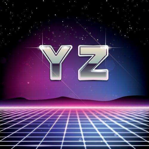 Vector Phông chữ Sci-Fi thập niên 80 từ Y đến Z