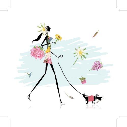 Vector hoa cô gái đi bộ với chó