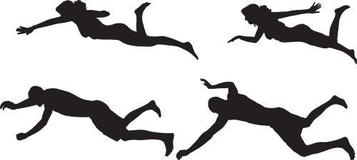 Vector bóng của một người bơi trên nền trắng.