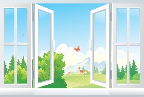 Vector minh họa mở cửa sổ với cảnh quan bên ngoài