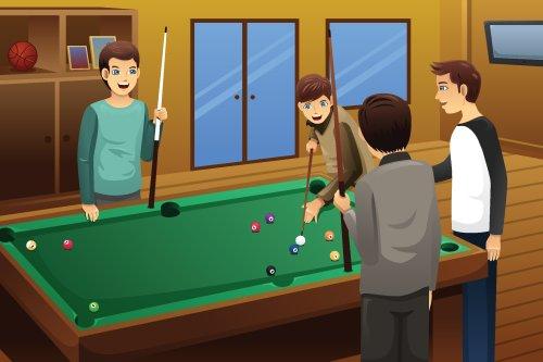Vector minh hoạ những người trẻ chơi bida với nhau
